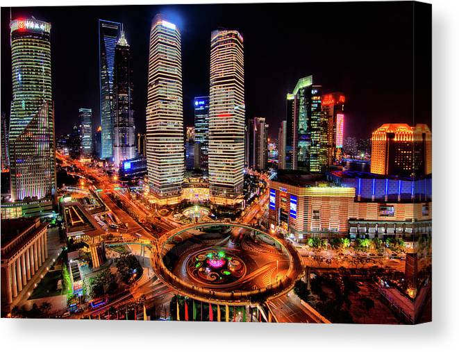 Financial District Canvas Print featuring the photograph Shanghais Financial City Center by Mimo Khair Photography