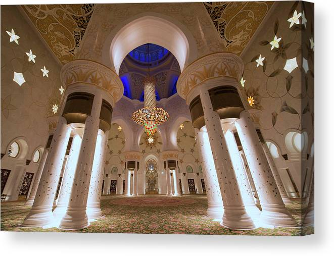 Arch Canvas Print featuring the photograph Sheikh Zayed Grand Mosque by Dany Eid Photography