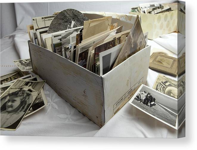 Shoe Box Canvas Print featuring the photograph Shoe box of old family photographs by Image Makers