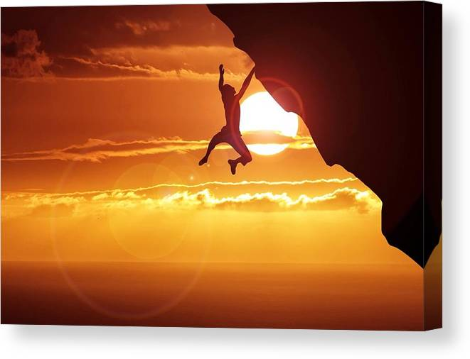 Tranquility Canvas Print featuring the photograph Silhouette Man Hanging On Cliff Against by Stijn Dijkstra / Eyeem