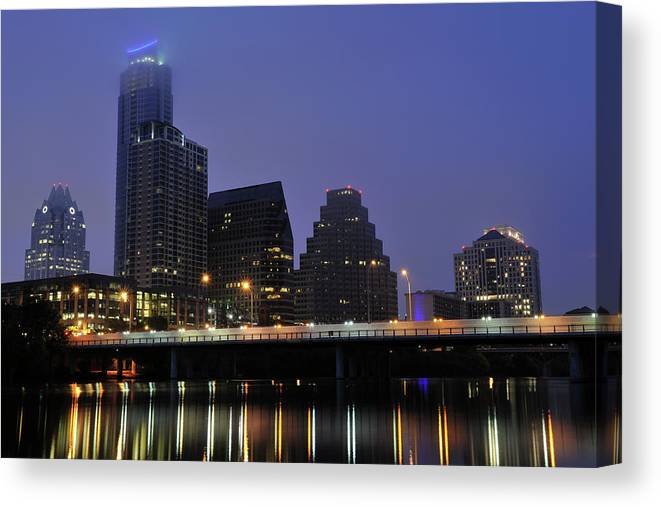 Color Image Canvas Print featuring the photograph Skyline And Bridge In Austin by Aimintang