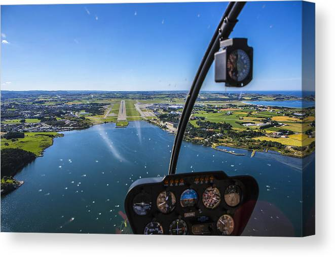 Water's Edge Canvas Print featuring the photograph Sola And Sola Airport, Aerial Shot by Sindre Ellingsen