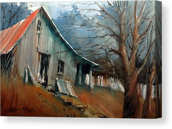 Barn Canvas Print featuring the painting Southern Ohio Farm Yard by Charles Rowland
