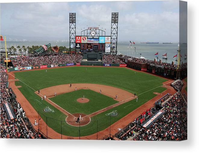 San Francisco Canvas Print featuring the photograph St. Louis Cardinals V. San Francisco by Brad Mangin