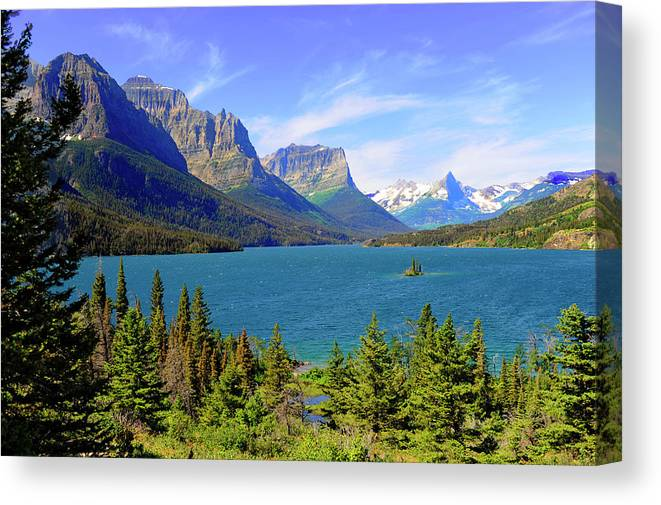 Scenics Canvas Print featuring the photograph St. Mary Lake, Glacier National Park by Dennis Macdonald