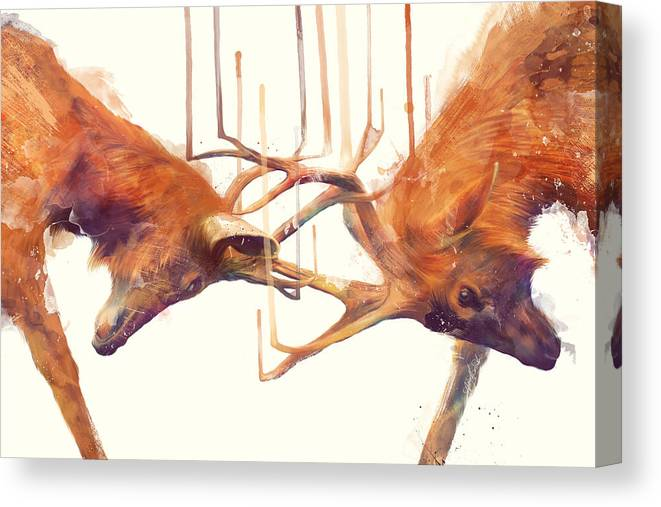 Stags Canvas Print featuring the painting Stags // Strong by Amy Hamilton