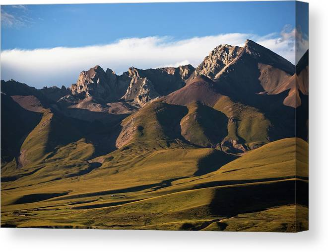 Scenics Canvas Print featuring the photograph Steppe Valley With Surrounding Peaks by Merten Snijders