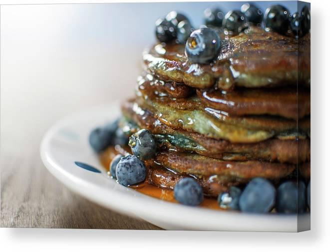 Unhealthy Eating Canvas Print featuring the photograph Still Life Of Blueberry Pancakes With by Matt Walford