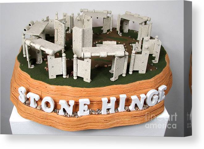 Czappa Canvas Print featuring the sculpture Stone Hinge.. .stonehenge  by Bill Czappa