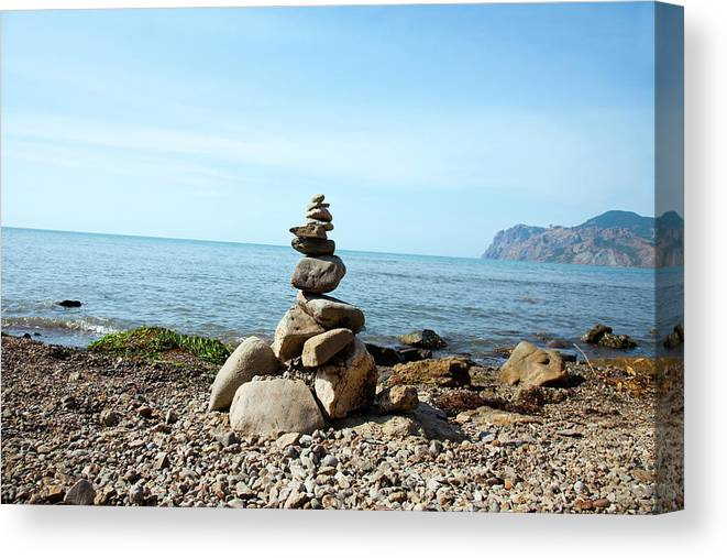 Heap Canvas Print featuring the photograph Stone Tower On The Beach by Mashabuba