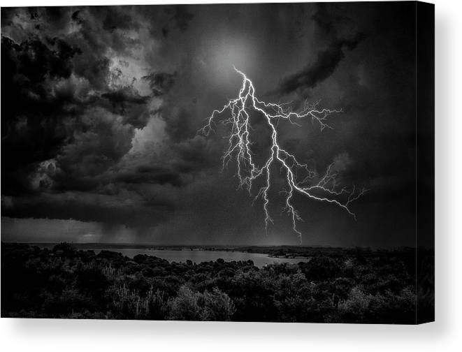 Outdoors Canvas Print featuring the photograph Storm Over Benbrook Lake by Dean Fikar