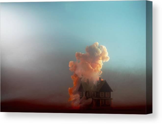Model House Canvas Print featuring the photograph Submerged House by Paul Taylor