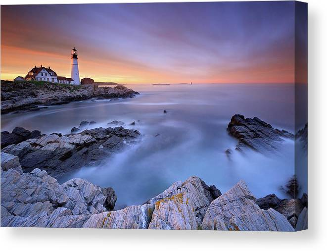 Tranquility Canvas Print featuring the photograph Summer Sunset At The Portland Head Light by Katherine Gendreau Photography