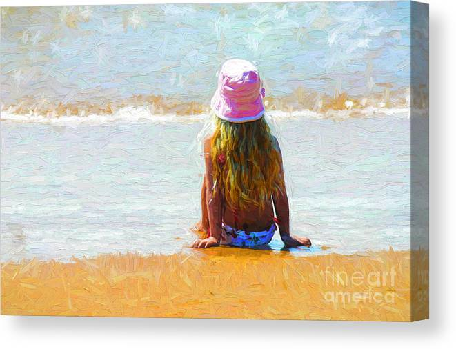 Little Girl On Beach Canvas Print featuring the photograph Summertime by Sheila Smart Fine Art Photography