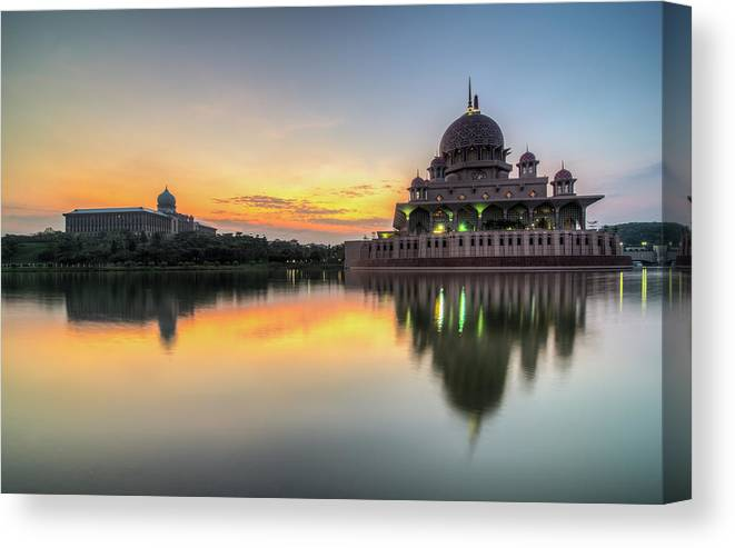 Tranquility Canvas Print featuring the photograph Sunrise | Masjid Putra, Putrajaya | Hdr by Mohamad Zaidi Photography