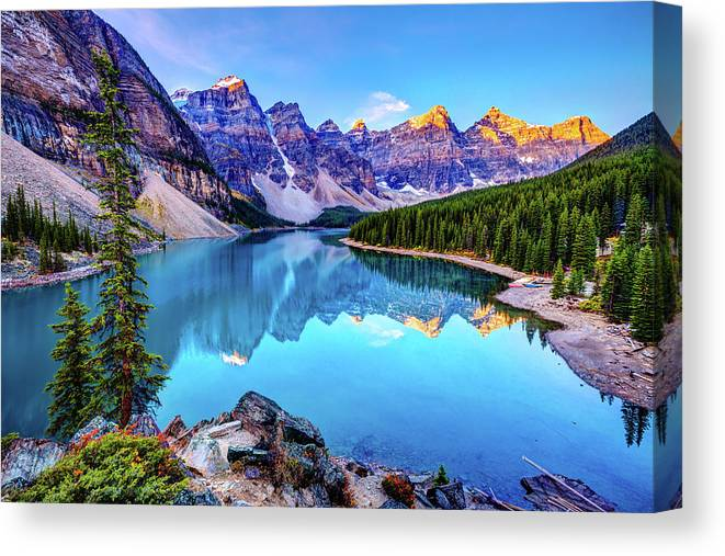 Tranquility Canvas Print featuring the photograph Sunrise At Moraine Lake by Wan Ru Chen