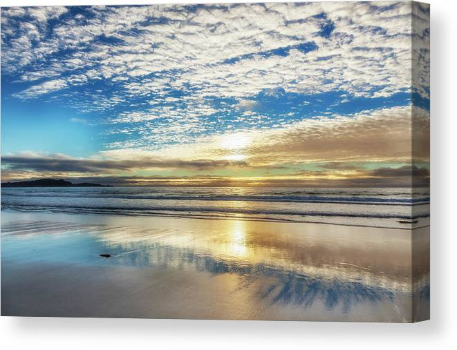 Tranquility Canvas Print featuring the photograph Sunset On Carmel Beach, California by Alvis Upitis