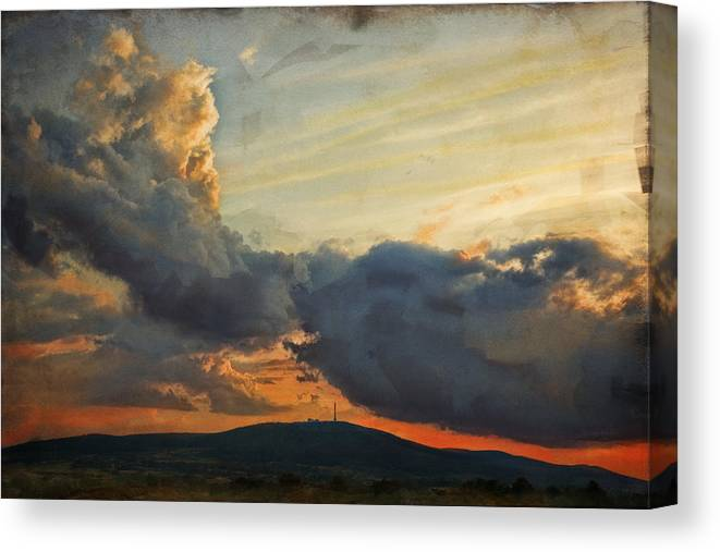 Digital Painting Canvas Print featuring the photograph Sunset over Holy Cross Mountains by Anna Gora