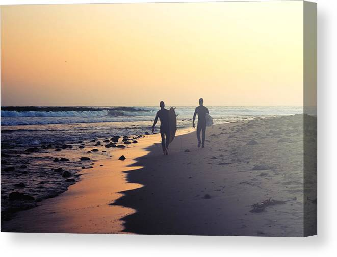 Water's Edge Canvas Print featuring the photograph Surfing Rincon Point Surfers Beach by Amparo E. Rios