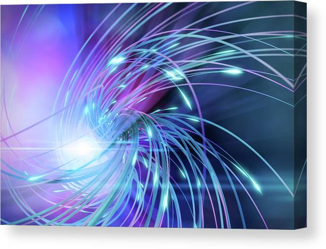 Curve Canvas Print featuring the digital art Swirl Of Lines With Glowing Ends by Maciej Frolow