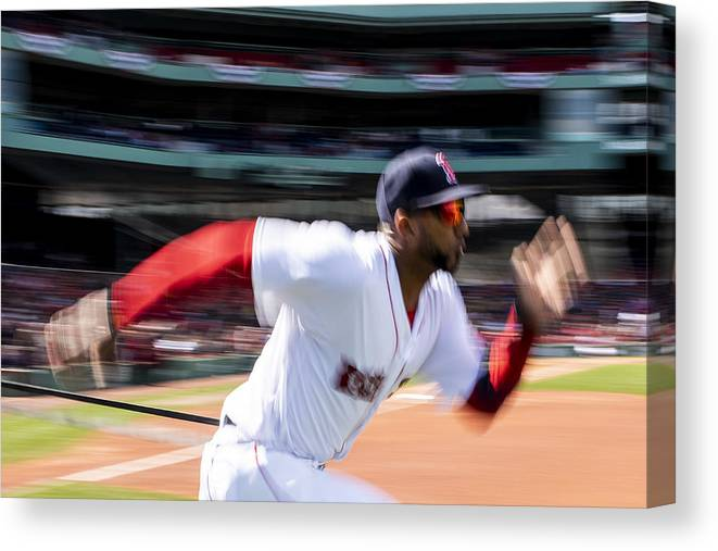 Three Quarter Length Canvas Print featuring the photograph Tampa Bay Rays v Boston Red Sox by Billie Weiss/Boston Red Sox