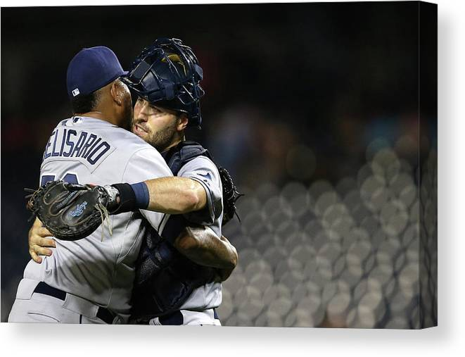 Baseball Catcher Canvas Print featuring the photograph Tampa Bay Rays V Washington Nationals by Patrick Smith