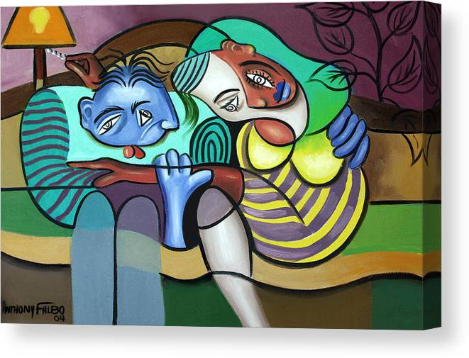 Couple In Love Canvas Print featuring the painting Tender Moments by Anthony Falbo