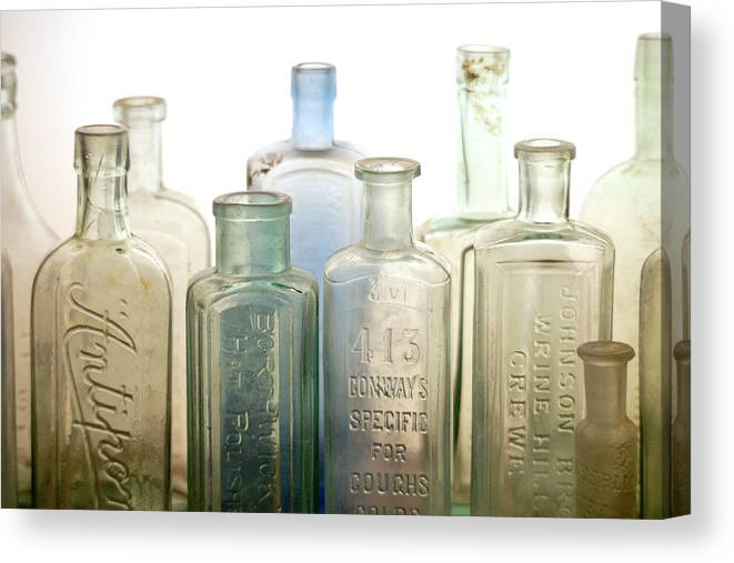 Bottle Canvas Print featuring the photograph The Ages Reflected in Glass by Holly Kempe