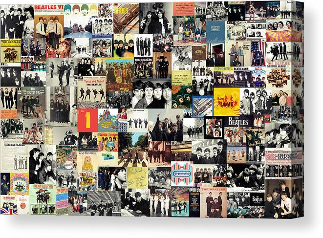 The Beatles Canvas Print featuring the digital art The Beatles Collage by Zapista OU