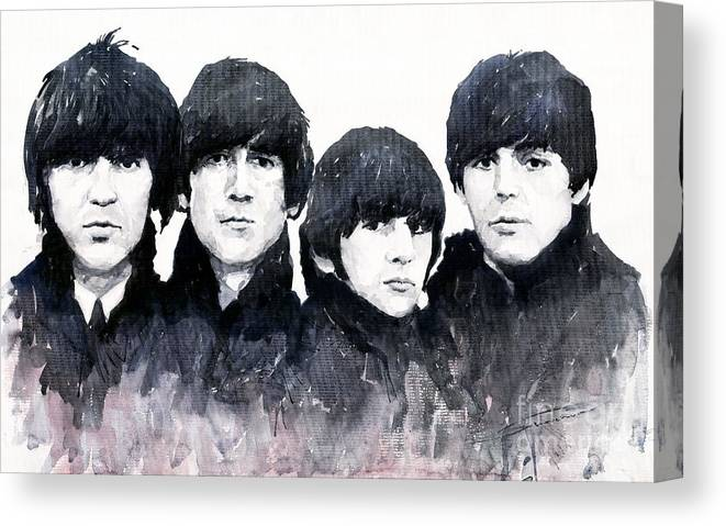 Watercolour Canvas Print featuring the painting The Beatles by Yuriy Shevchuk