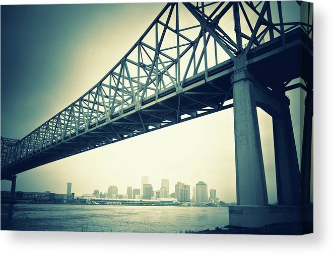 Desaturated Canvas Print featuring the photograph The Crescent City Connection In New by Moreiso