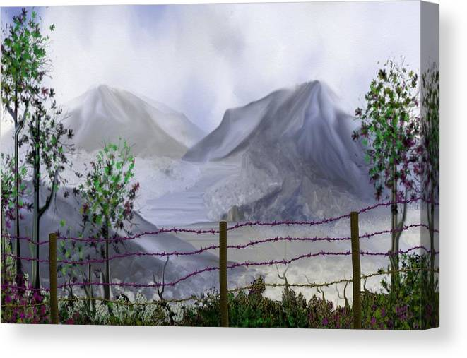 The Fence Canvas Print featuring the digital art The Fence by Tony Rodriguez