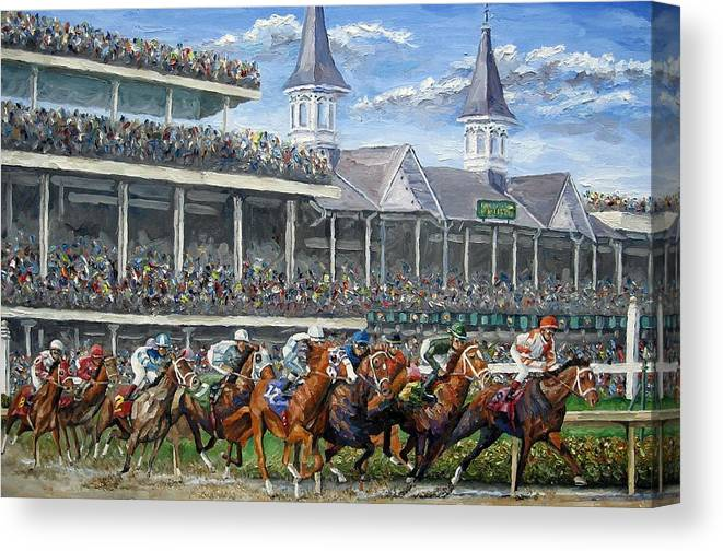 Kentucky Derby Canvas Print featuring the painting The Kentucky Derby - Churchill Downs by Mike Rabe