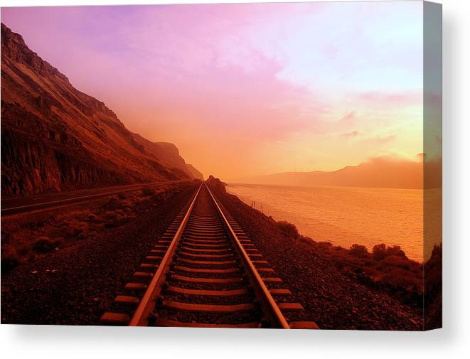 Columbia River Canvas Print featuring the photograph The Long Walk To No Where by Jeff Swan