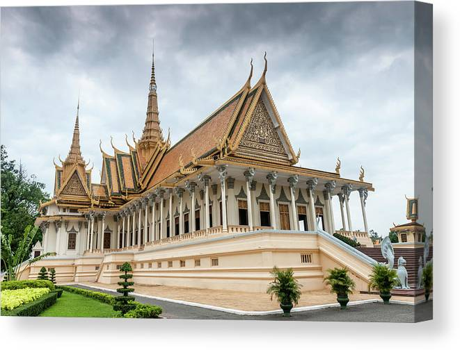 Southeast Asia Canvas Print featuring the photograph The Royal Palace And Silver Pagoda In by Tbradford