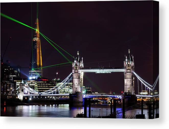 Gothic Style Canvas Print featuring the photograph The Shard Skyscraper Opening Laser by Dynasoar