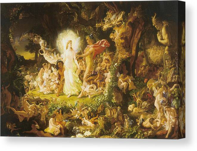 The Stuff That Dreams Are Mad Of Canvas Print featuring the digital art The Stuff That Dreams Are Mad Of by John Anst Fitzgerald