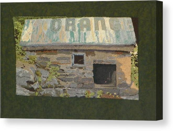 Art Quilt Canvas Print featuring the mixed media The Well House by Jenny Williams