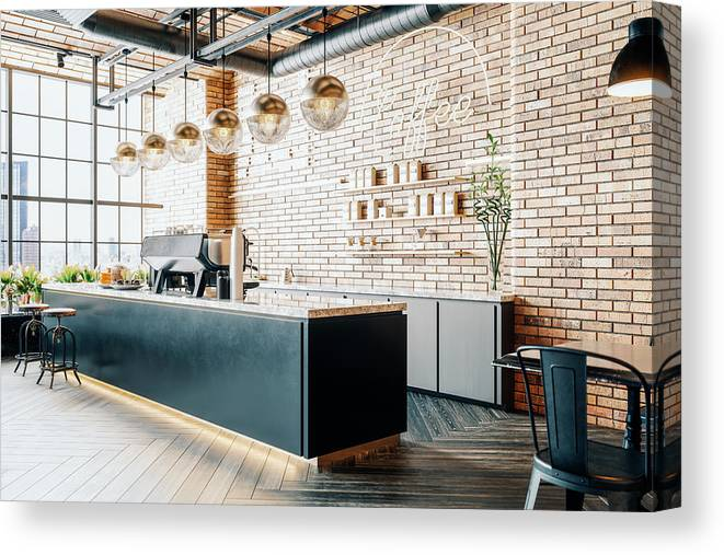 New Business Canvas Print featuring the photograph Third Wave Coffee Shop Interior by Imaginima