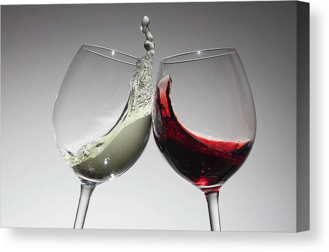 Alcohol Canvas Print featuring the photograph Toasting With Glasses Of Water And Red by Dual Dual