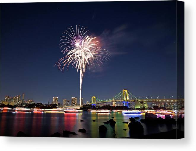 Firework Display Canvas Print featuring the photograph Tokyo Bay Fireworks by Photography By Zhangxun