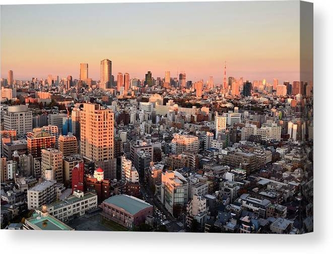 Tokyo Tower Canvas Print featuring the photograph Tokyo Cityscape At Sunset by Keiko Iwabuchi
