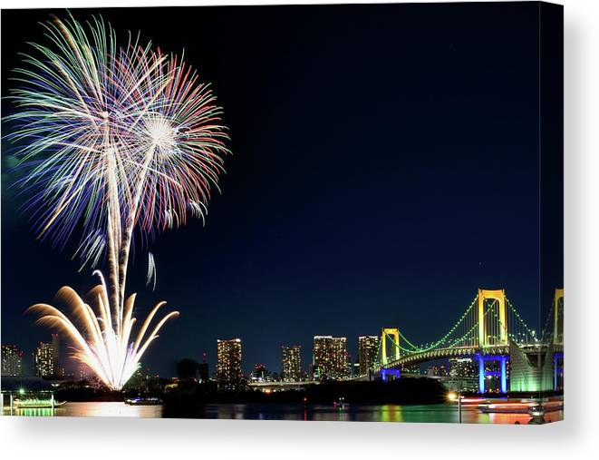 Firework Display Canvas Print featuring the photograph Tokyo Fireworks by Vladimir Zakharov