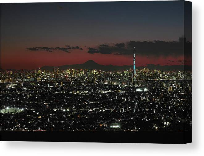 Tokyo Tower Canvas Print featuring the photograph Tokyo Skytree, Fuji, And Tokyo Tower by I Love Photo And Apple.
