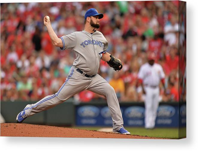 Great American Ball Park Canvas Print featuring the photograph Toronto Blue Jays V Cincinnati Reds by Jamie Sabau