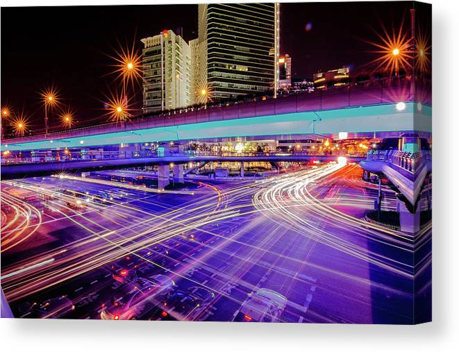 Outdoors Canvas Print featuring the photograph Tracks Of Light 02 by Welcome To Buy The Image If You Like It!
