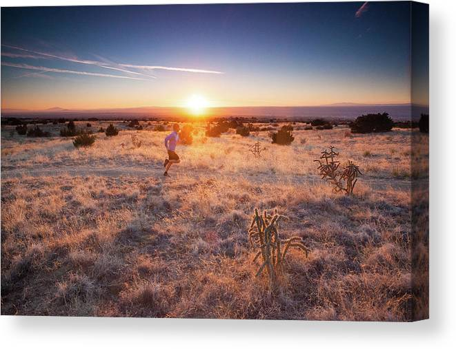 Scenics Canvas Print featuring the photograph Trail Running by Amygdala imagery