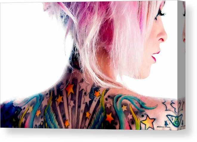 Tattoo Girl Canvas Print featuring the digital art Tribute to Suicide Girls 3 by Gabriel T Toro