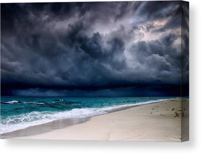 Water's Edge Canvas Print featuring the photograph Tropical Storm Over The Caribbean Sea by Stevegeer