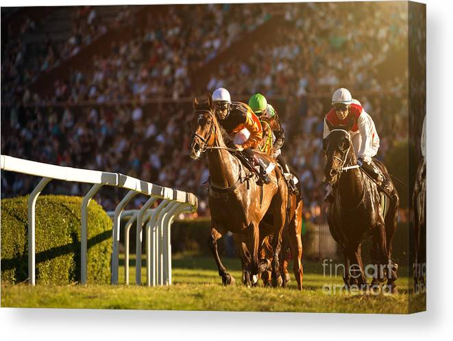 Equestrian Canvas Print featuring the photograph Two Jockeys During Horse Races by Vladimir Hodac